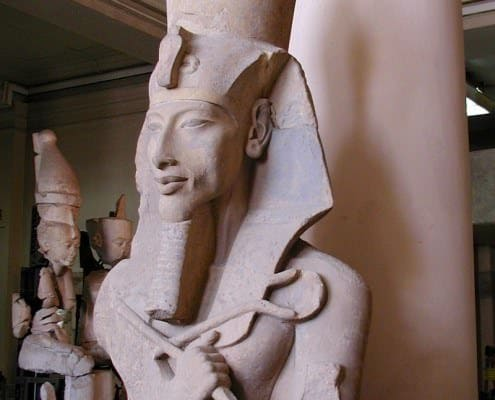 A colossal statue of Akhenaten from his Aten Temple at Karnak