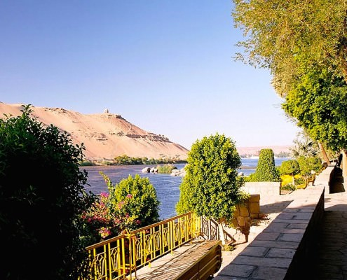 A view to the west bank of the Nile from the Aswan Botanical Garden