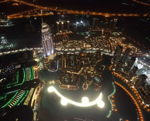 Aerial view of Dubai Fountaind and downtown Dubai at night