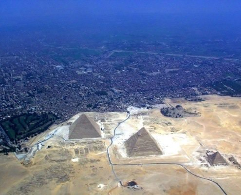 Aerial view of the Giza Plateau and Cairo