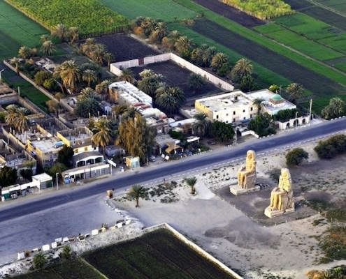 Aerial view of the Memnon Statues, Luxor West Bank