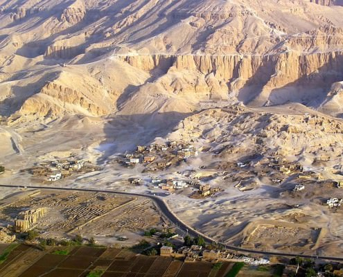 Aerial view of the Valley of the Nobles, Luxor