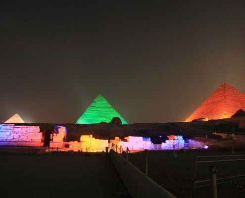 All 3 of the Great Giza Pyramids are lit up during the show