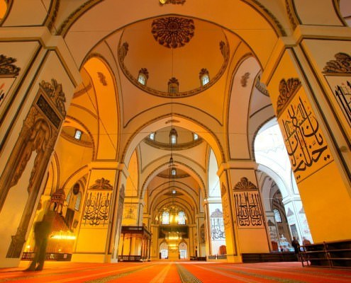 An interior view of Bursa's Grand Mosque