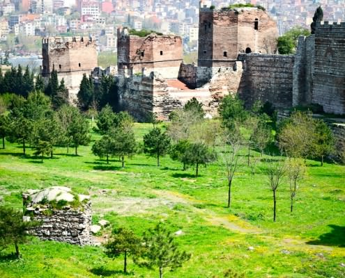 Ancient walls of Constantinople in suburb of Blachernae (Istanbul, Turkey)