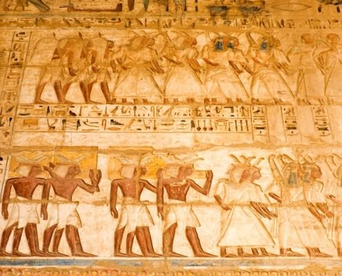 Bas-reliefs at Medinet Habu Temple. Thebes