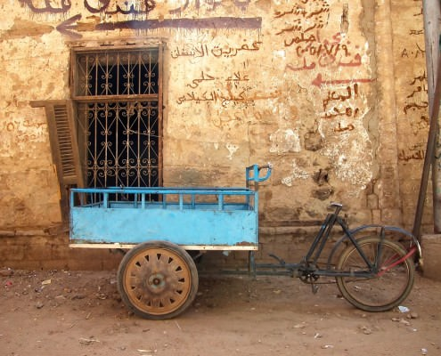 Bicycle cart by old wall in Islamic, Medieval Cairo