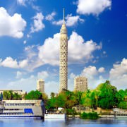 Cairo Tower seen from the Nile River