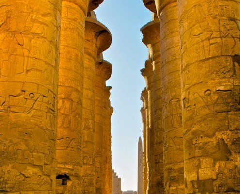 Central alley of Great Hypostyle Hall in Karnak Temple