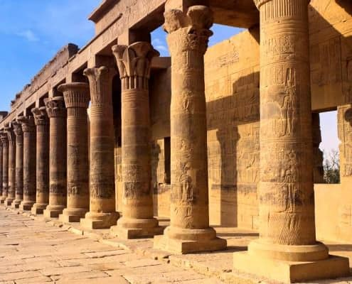 Colonnade of columns, Philae Temple
