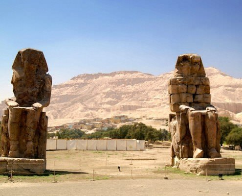Colossi of Memnon and mountains of Valley of the Kings