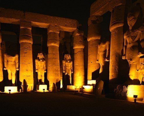 Columns and statues, Luxor Temple by night