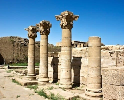 Columns in the courtyard of Dendera Temple