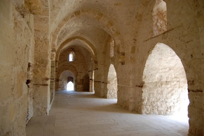 Corridors of the Qaitbay Citadel in Alexandria, Egypt