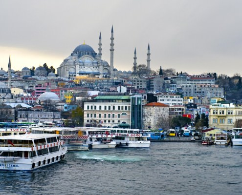 Cruise ferries in Eminonu Port. The Eminonu waterfront is a major dock for ferryboats in Istanbul