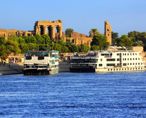 Cruise ships docked at Kom Ombo Temple on the Nile