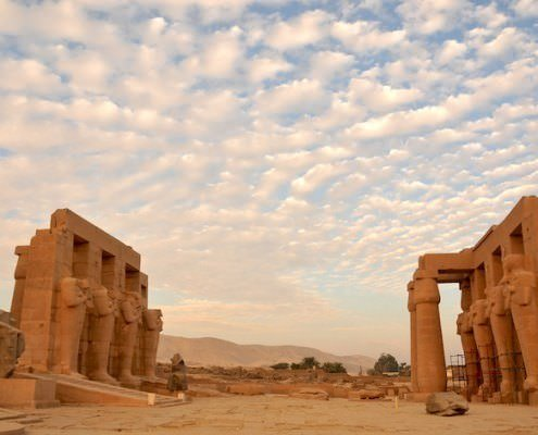 Evening light on the Ramesseum, the mortuary temple of Ramses II