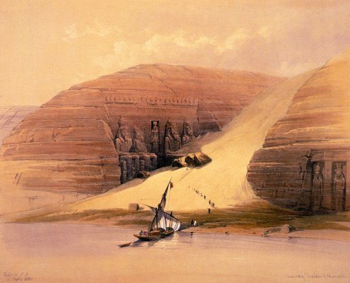 Excavated Temples of Abu Simbel - Painting by David Roberts, 1848