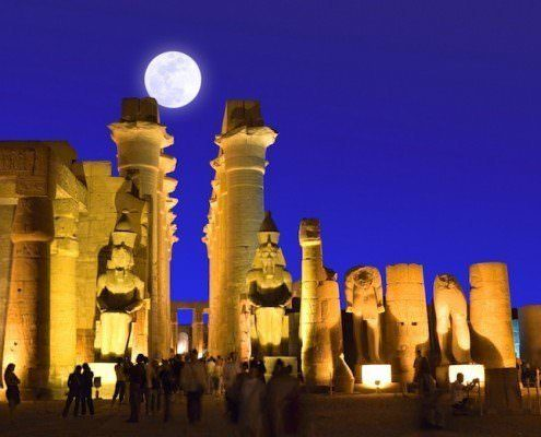 Full moon over Luxor Temple