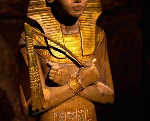 Gilded wooden ushabti found in the KV62 tomb of king Tutankhamun