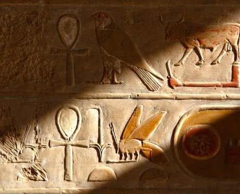Hieroglyphs in the temple of Queen Hapshepsut
