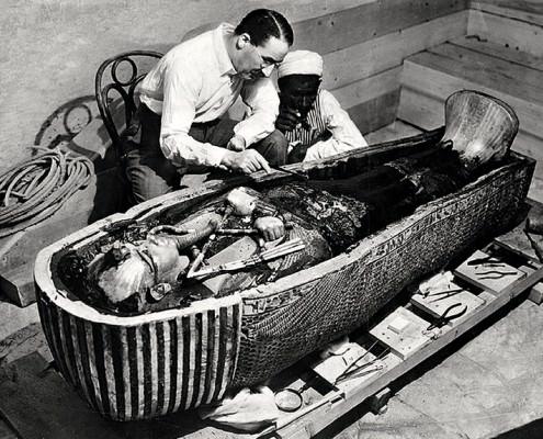 Howard Carter opens the innermost shrine of King Tutankhamen's tomb