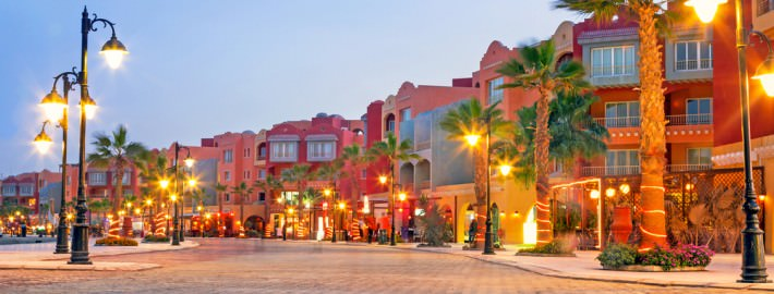 Hurghada, Egypt - Beautiful architecture of Hurghada Marina at dusk
