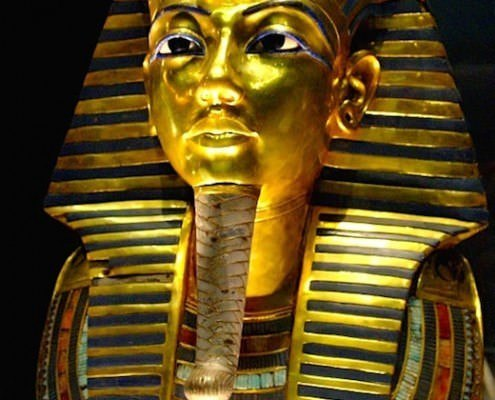 King Tut's famous funerary mask, on display in the Egyptian Museum in Cairo