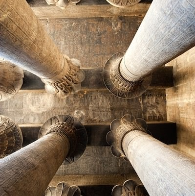 Looking up in the Hypostyle Hall, Temple of Khnum