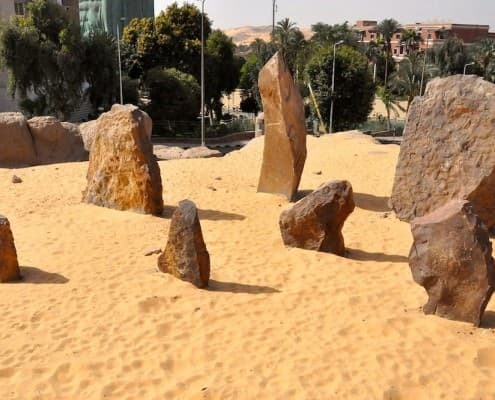 Megaliths from the Nabta Playa calendar in the garden of the Nubian Museum, Aswan - Photo by Raymbetz