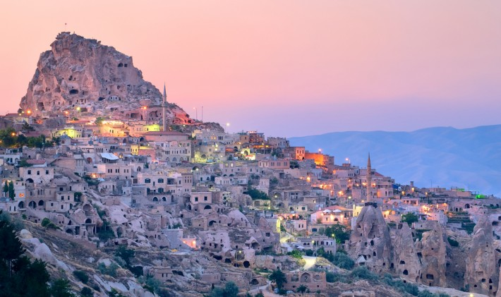 Nevsehir cave city in Cappadocia, Turkey at sunset - Kaymakli Underground City