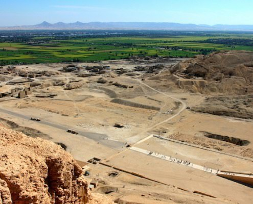 Nile Valley view from Gurna hills at Hatshepsut Temple