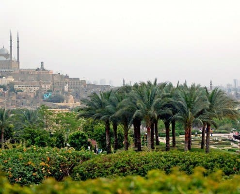 Panorama of the Mosque of Muhammad Ali in the Cairo Citadel from Azhar Park