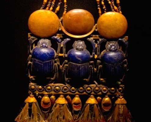 Pectoral with three scarab beetles clasped to a necklace