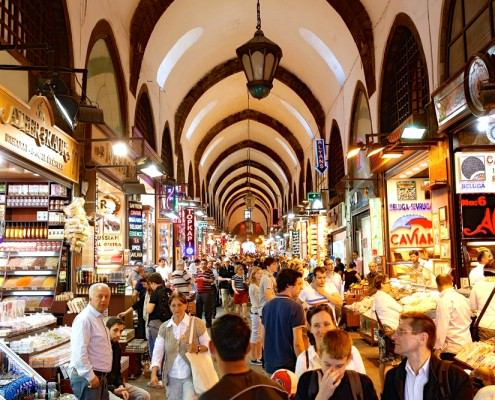 People shopping in the Grand Bazar in Istanbul, Turkey, one of the largest covered markets in the world