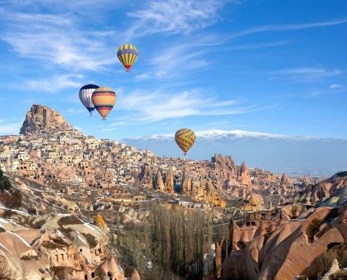 Hot air balloons over Pigeon Valley, Cappadocia