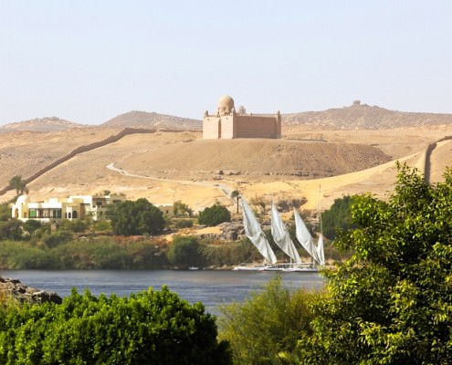 River Nile, the Sahara Desert and the Aga Khan Mausoleum in the background