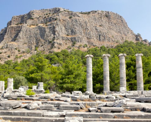 Ruins of Athena Temple in Priene, Turkey