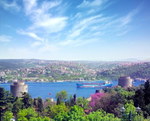 Rumeli Castle overlooking Boshporus in Istanbul, Turkey