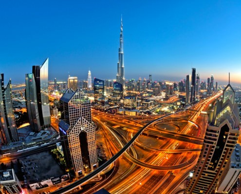 Sheikh Zayed Road in the evening