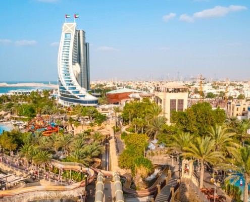 Side view of Jumeirah Beach Hotel seen from Wild Wadi Waterpark