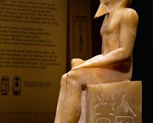 Side view of a statue of king Khafra from Mit Rahina which dates to the 4th dynasty of Egypt's Old Kingdom