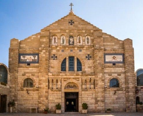 St. George Greek Orthodox Church in Jordan is located in Madaba, the City of Mosaics