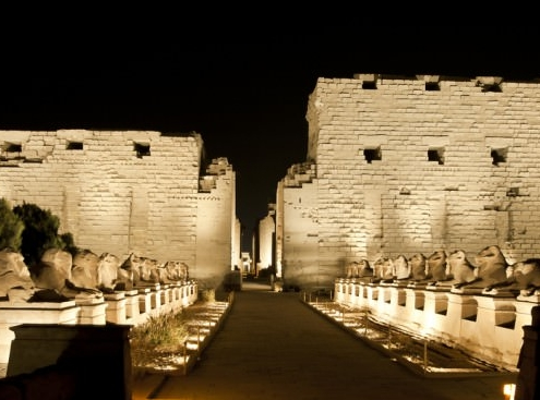 Temple of Karnak lit up at night during the Karnak Temple Sound and Light Show