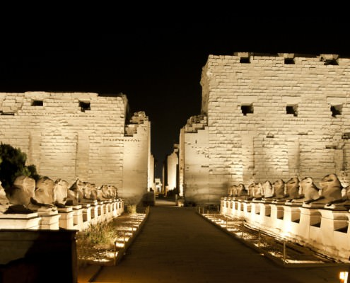 Temple of Karnak lit up at night during the Karnak Temple Sound & Light Show