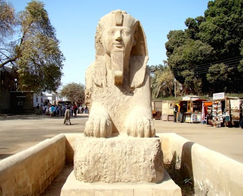 The Alabaster Sphinx in the Open-Air Museum of Memphis, Egypt