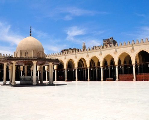 The Amr ibn al-Aas Mosque was built in 642 AD, as the center of the newly-founded capital of Egypt, Fustat
