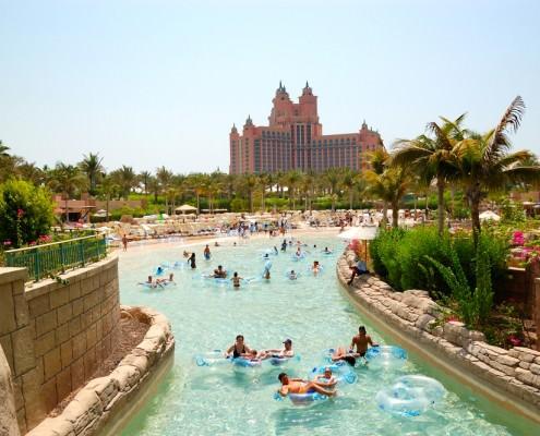 The Aquaventure waterpark of the Atlantis Palm Hotel, Palm Jumeirah Island