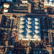 The Covered Bazaar in Istanbul seen from a helicopter