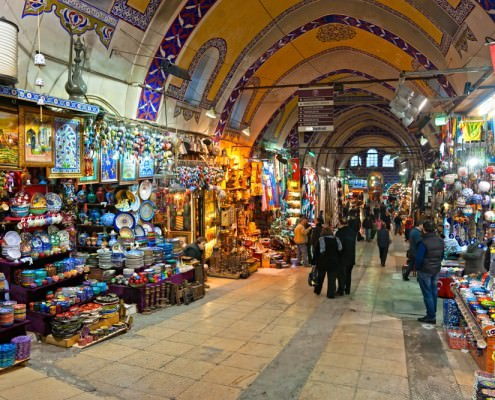 The Grand Bazaar, considered to be the oldest shopping mall in history with over 1200 jewelry, carpet, leather, spice and souvenir shops.
